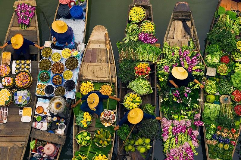 Chợ nổi bốn miền đặc trưng của Thái Lan